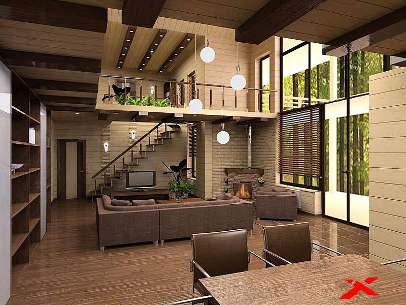 Загородный деревянный дом планировка и дизайн интерьера