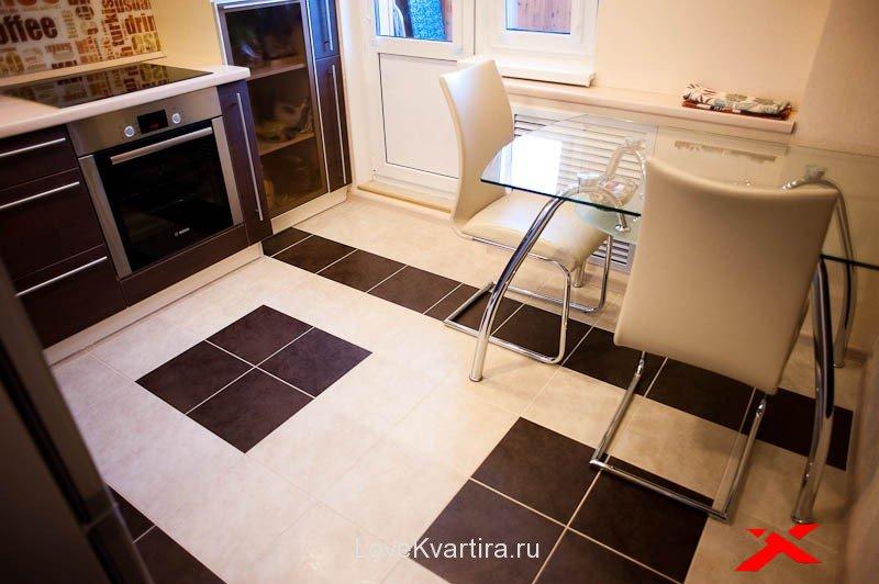 Плитка на полу в кухне дизайн 124