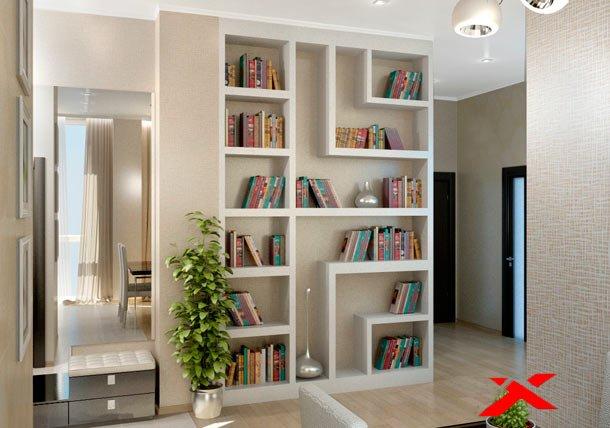 Шкаф для книг из гипсокартона