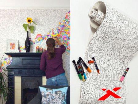 Обои-раскраски: оригинальное решение для детской комнаты