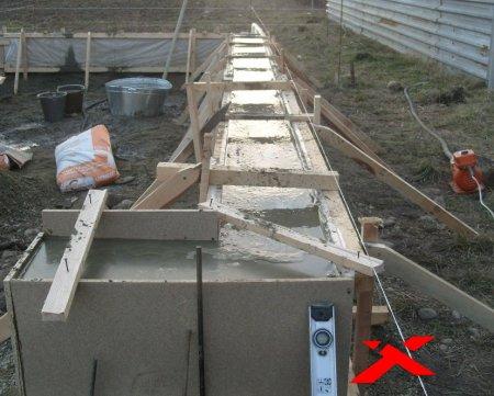 Заливка фундамента под гараж