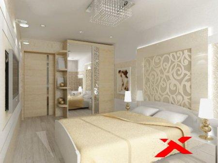 Интерьер спальни со светлой мебелью
