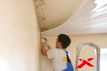 Как монтировать натяжной потолок