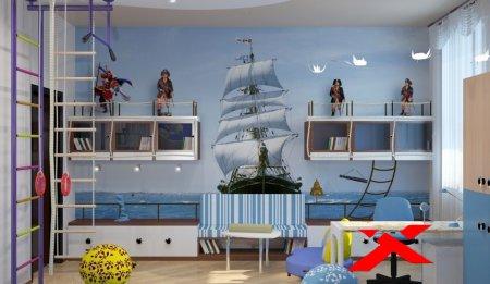 Дизайн детской комнаты в морских оттенках