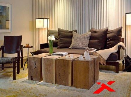 Сочетание материалов в мебели для дома