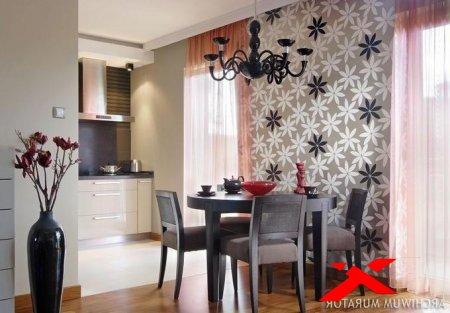 Комбинированные обои в интерьере для кухни: фото