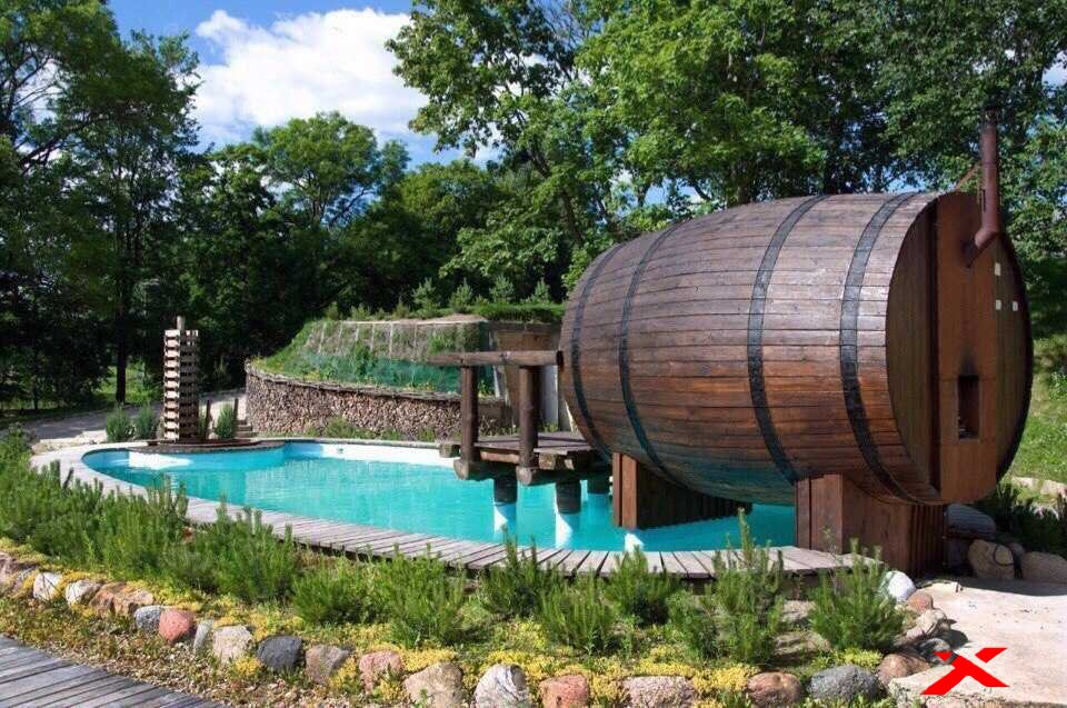 Баня бочка с бассейном