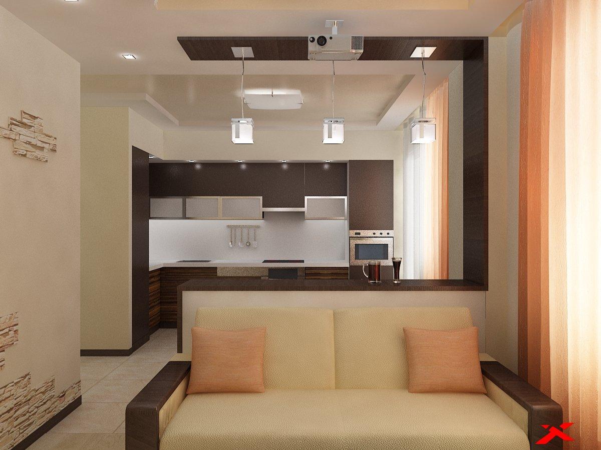 Дизайн интерьера кухни (цвет венге)