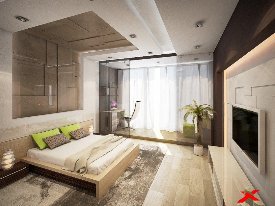 Дизайн интерьера спальни (цвет фисташковый)