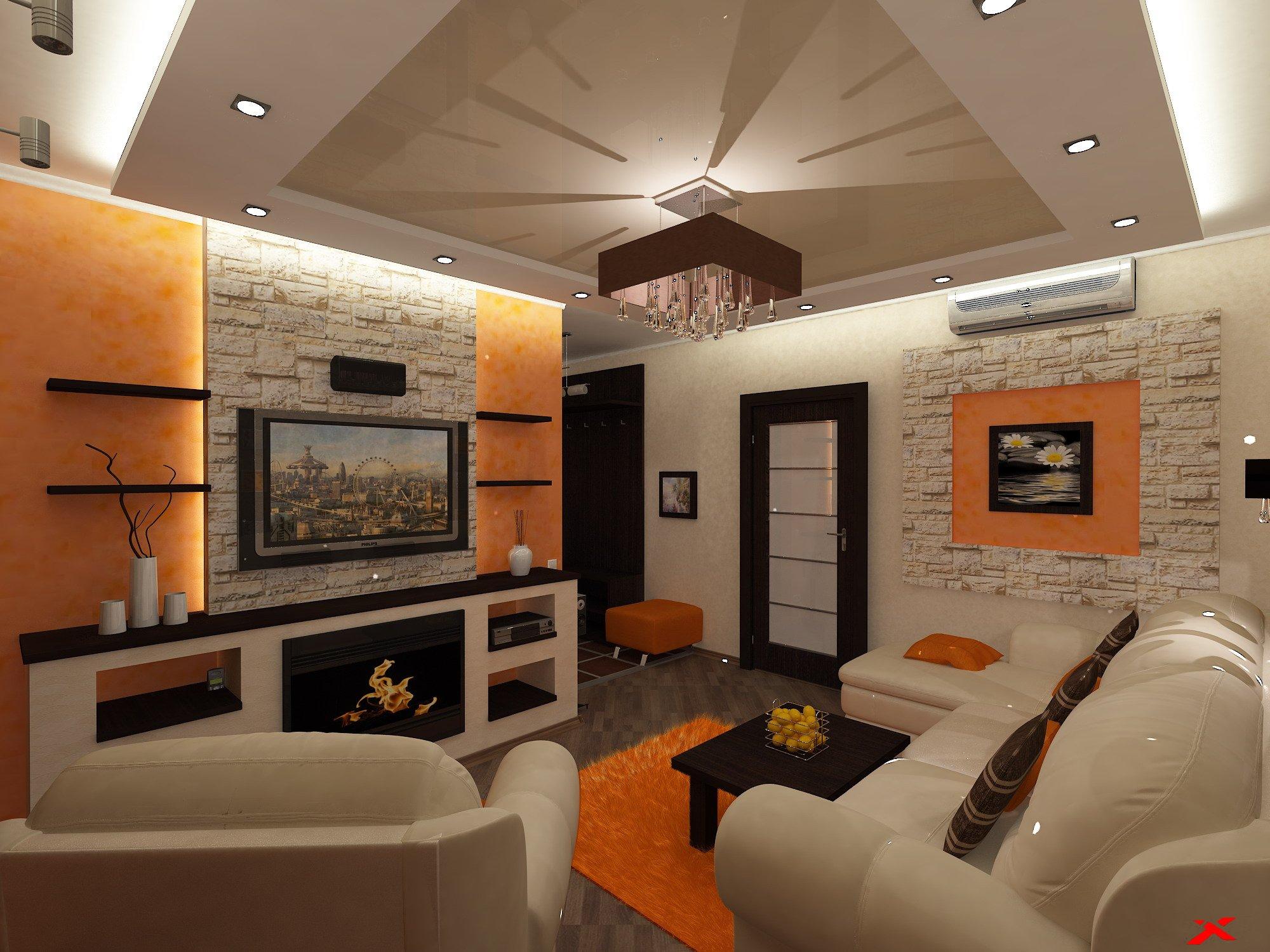 Дизайн интерьера гостиной (оранжевый)
