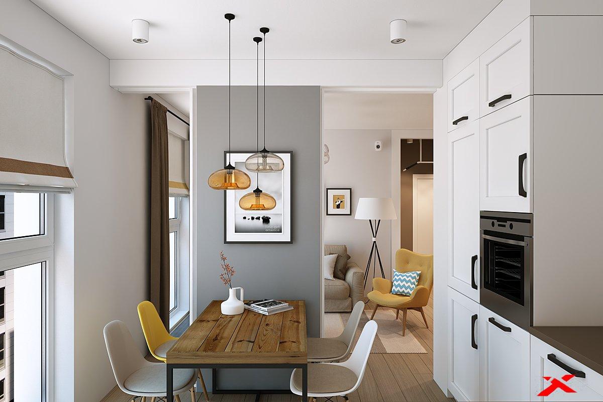 Дизайн интерьера гостиной(желтый )